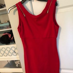 Red zipper cotton dress